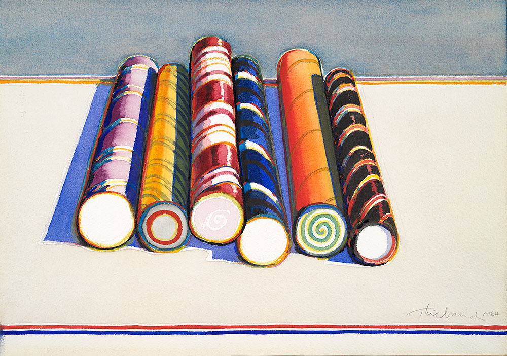 Candy Sticks , 1964, watercolour and graphite. Yale University Art Gallery, Bequest of Susan Morse Hilles. © Wayne Thiebaud/Licensed by VAGA, New York, NY (Image courtesy of the Morgan Library, New York)