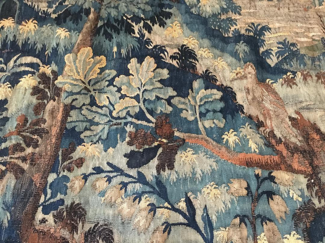 "Detail of a 17th century wonderful French tapestry hanging in the Great Chamber, Haddon Hall, celebrating ""mille fleur"" but also oaks (Photograph J Cook)"