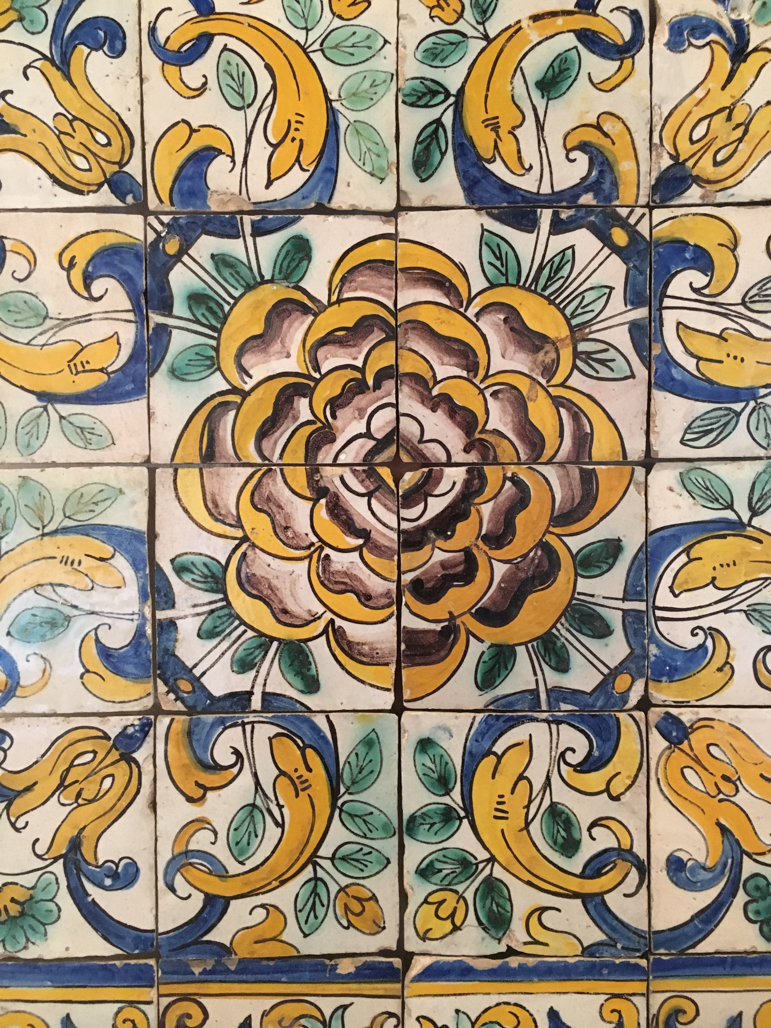 Camellias were a new source of inspiration as Far Eastern flora became known. This Camellia pattern panel of tiles, ca. 1660-1680, was created in polychromed faience for Nossa Senhora da Esperança, Lisboa. (photography J. Cook)