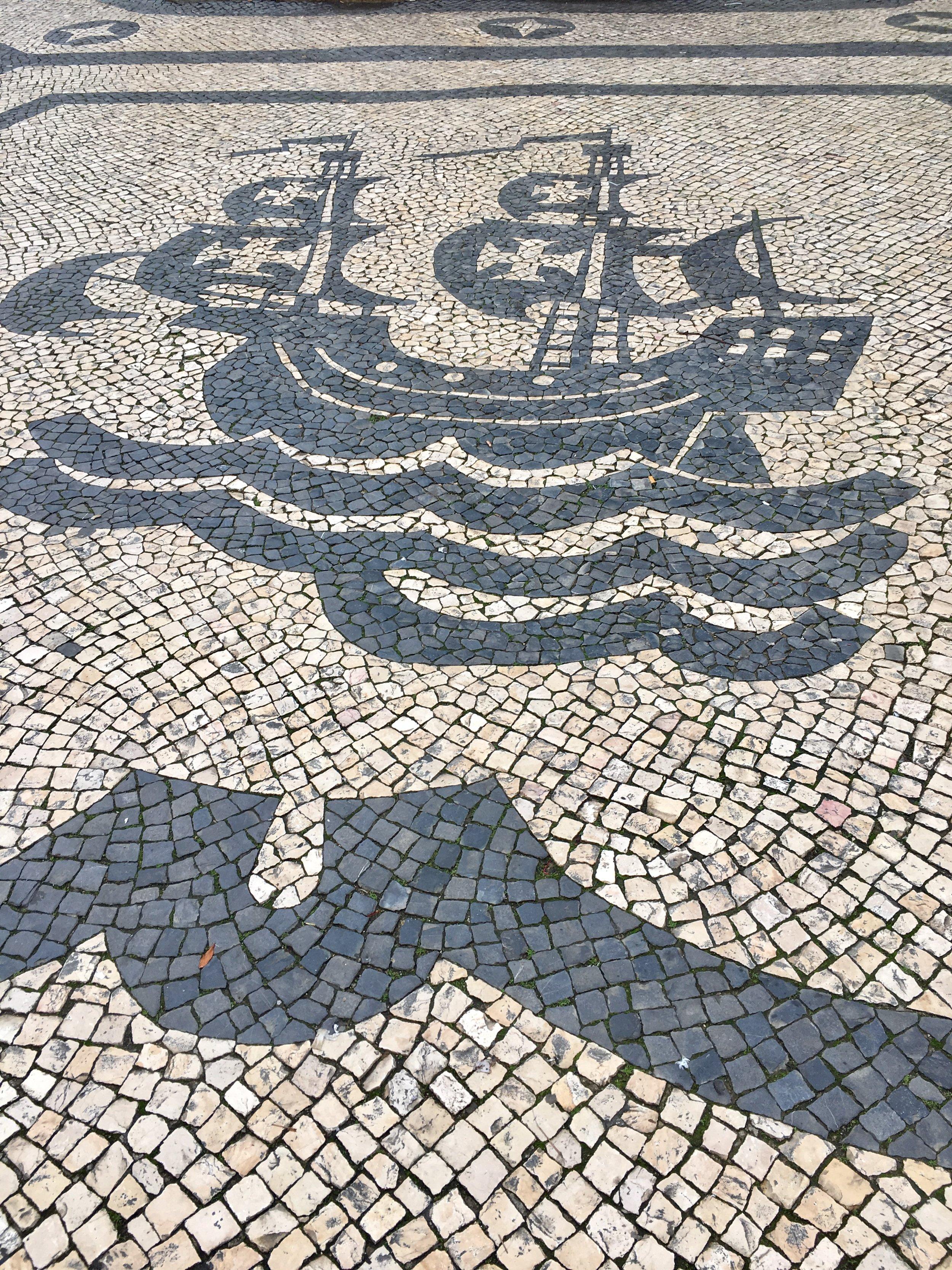Pavement in Luis de Camoes square. Lisbon, Portugal. (Photograph J. Cook)