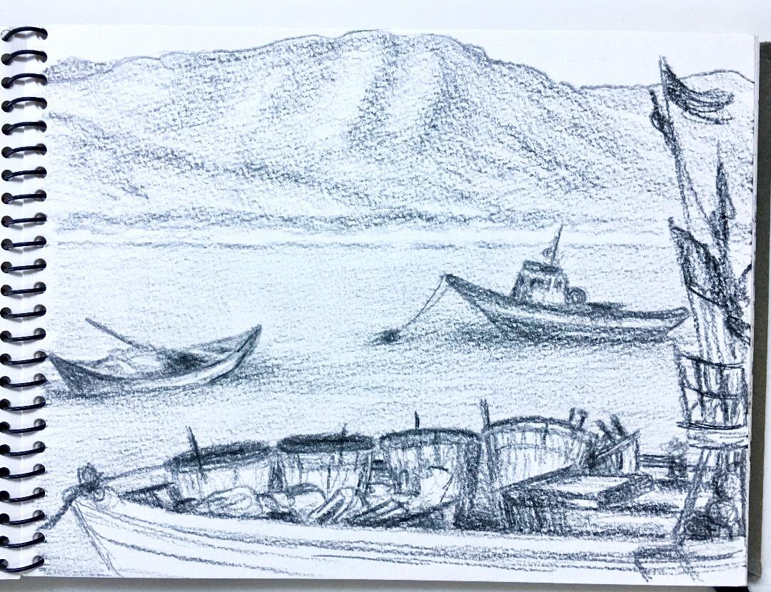 Sant'Antiocco harbour, Sardinia 19.6.2005., Prismacolor. J. Cook artist