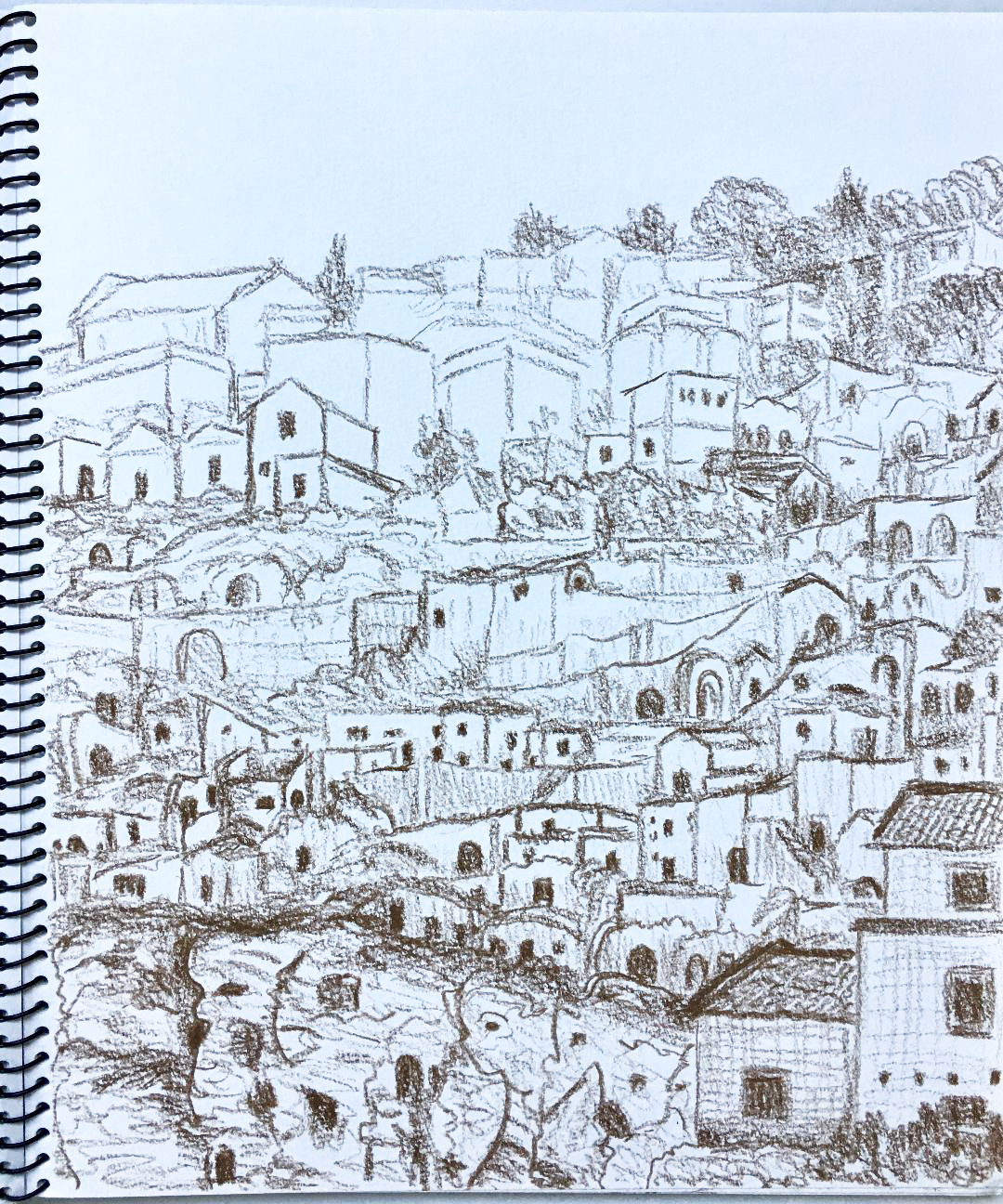 Part of the Sassi, above the Ravine, Matera, Basilicata, Italy 10.8.2012. Prismacolor. J. Cook artist