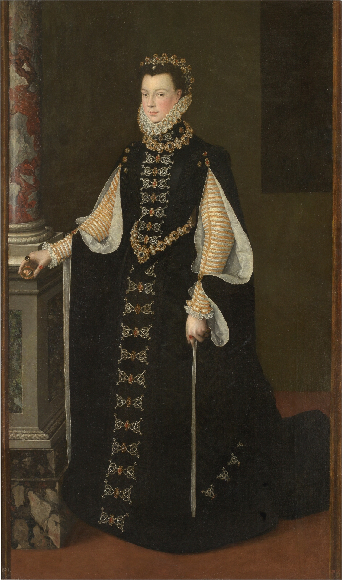Isabel de Valois holding a portrait of Felipe II, oil on canvas, attributed to Sofonisba Anguissola, 1561-65. (Image courtesy of Prado Museum)