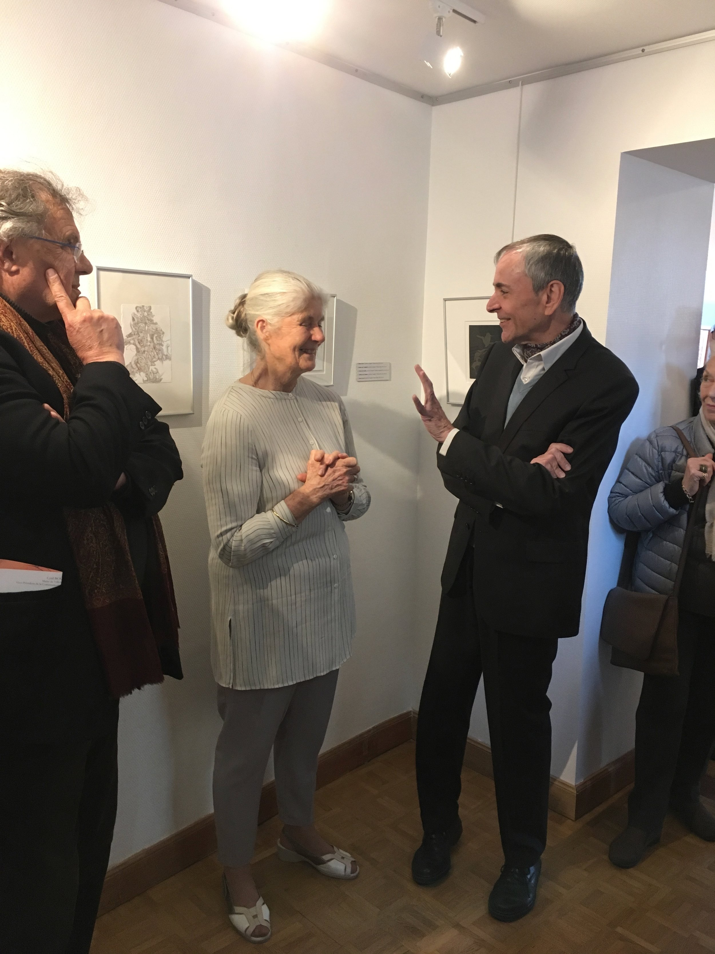 The Director, Jean Luc Dauphin, talking about my metalpoint drawings during the reception (Photograph courtesy of Michelle Anderson)