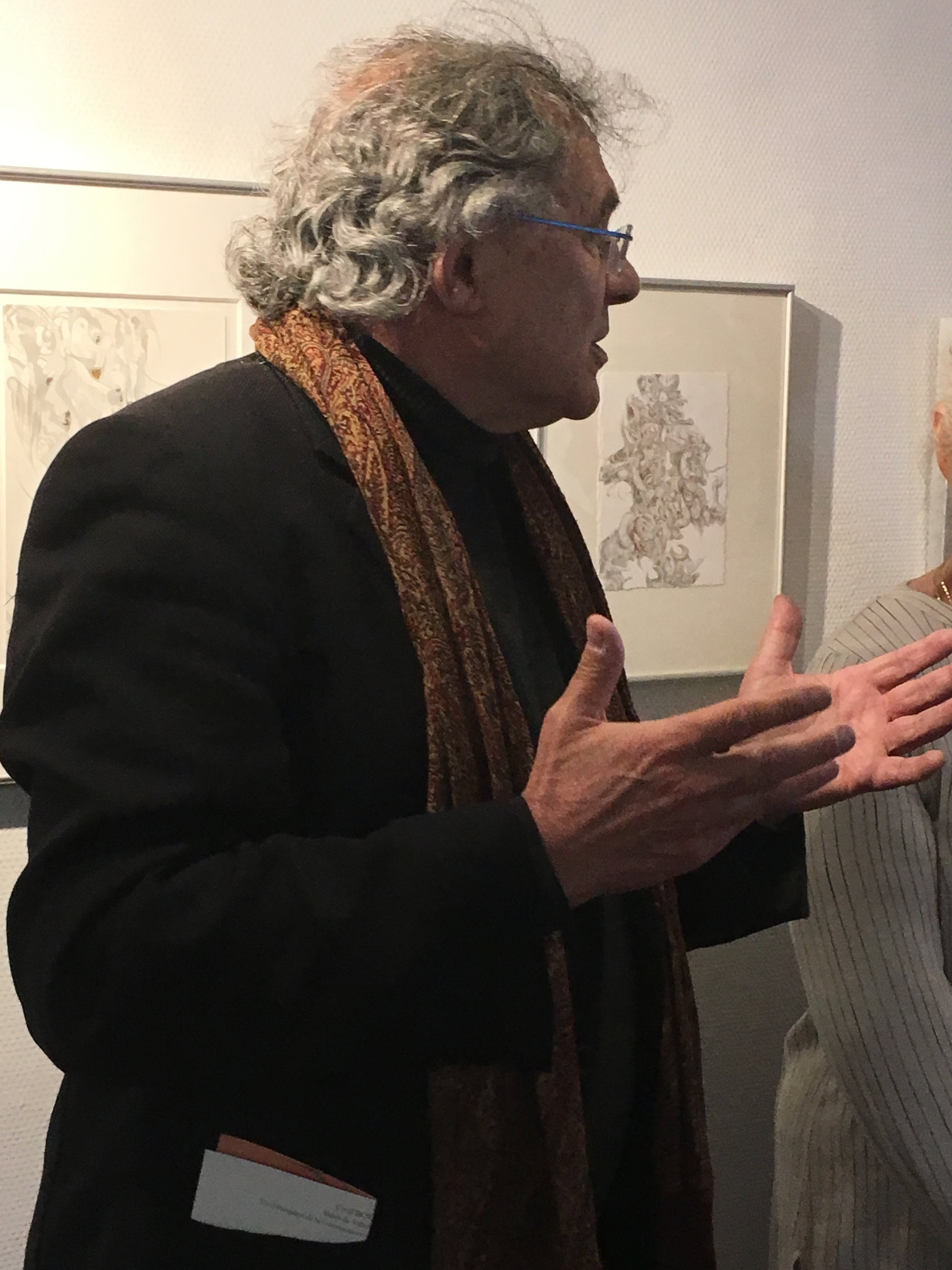 Art collector and poet Jean Jacques Gleizal talking about my work (Photograph courtesy of Michelle Anderson)
