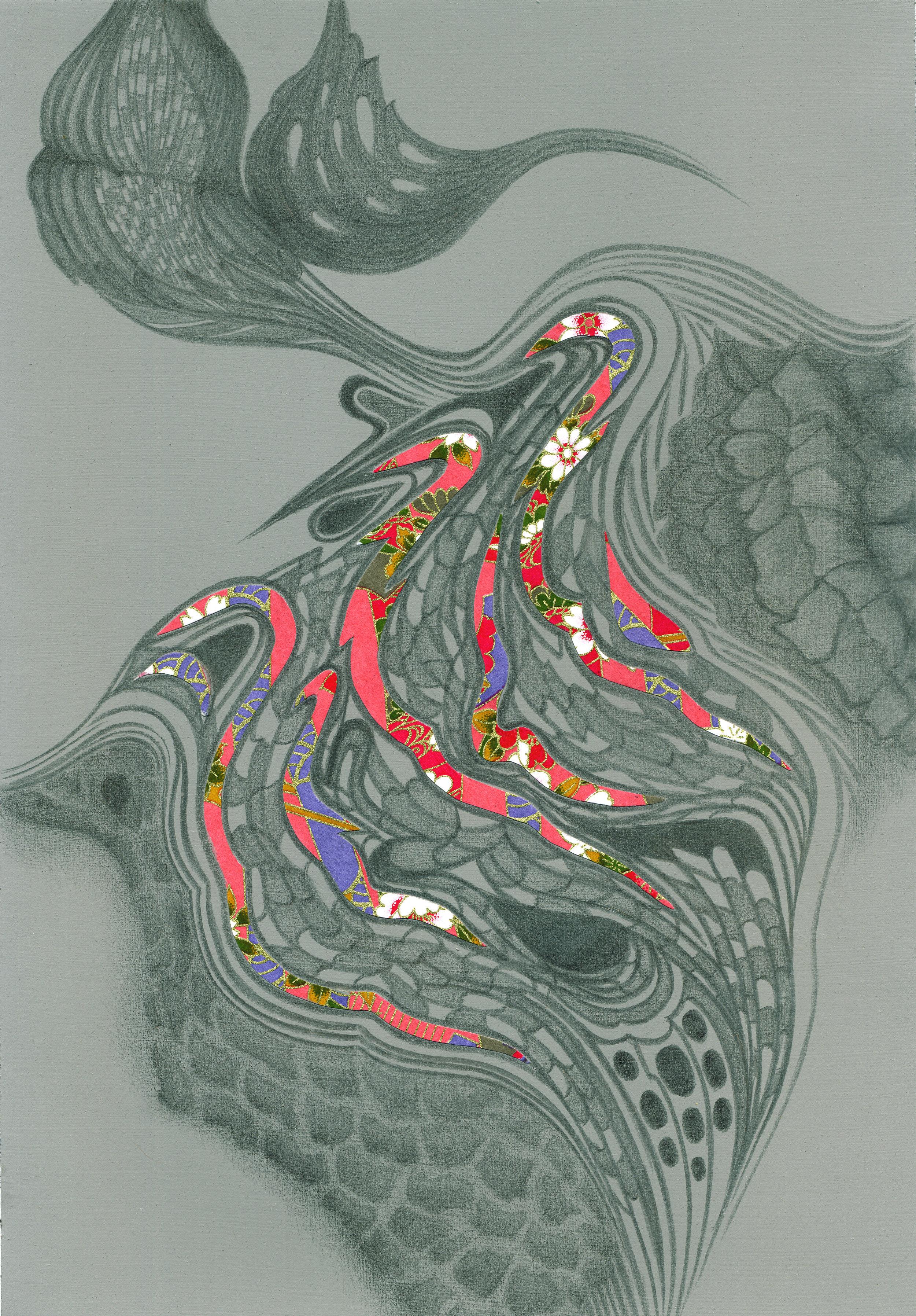 Cork Contours, silverpoint - Washi paper, Jeannine Cook artist