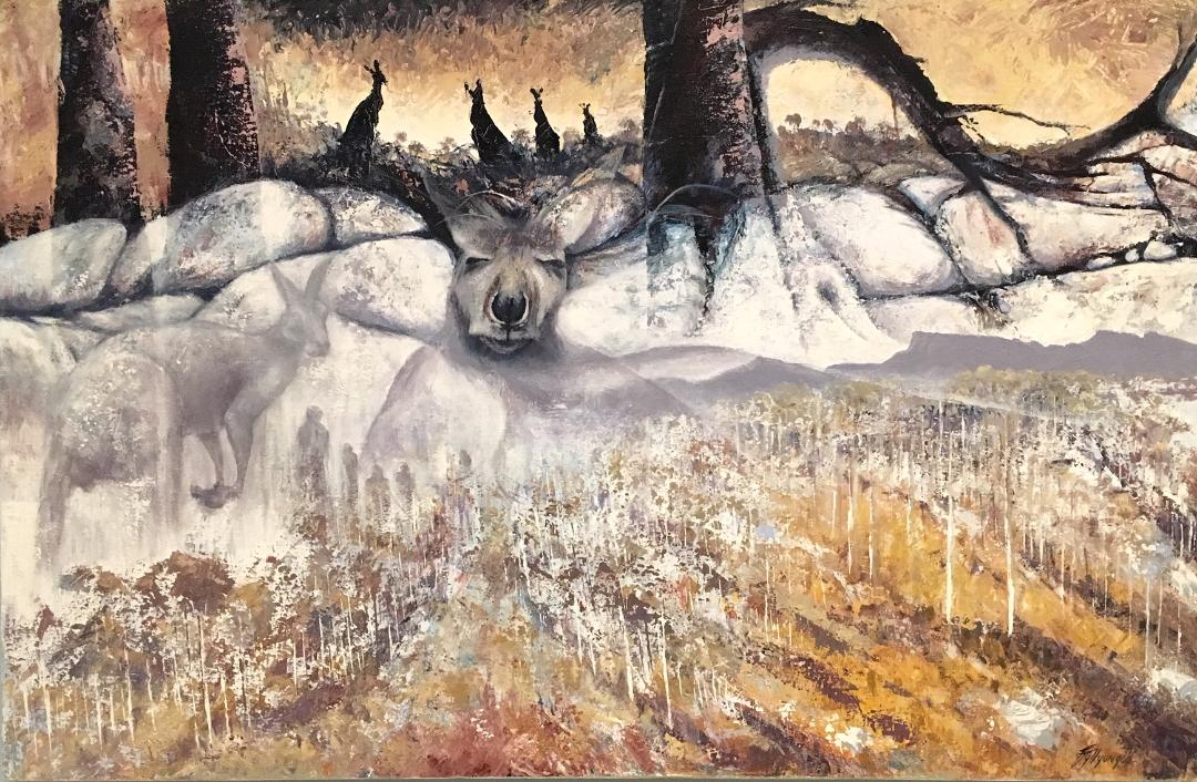 Yongar Booronup,  acrylic on canvas, 2014, Lance (Tjyllyungoo) Chadd artist (photograph J. Cook)