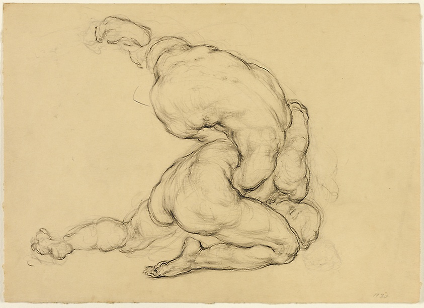 Wrestlers, graphite and black chalk, 1930, Hyman Bloom (Image courtesy of the Art Institute of Chicago)