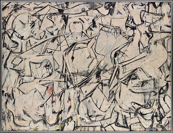 Attic, Willem de Kooning (American (born The Netherlands), 1949, Oil, enamel, and newspaper transfer on canvas, Metropolitan Museum, New York