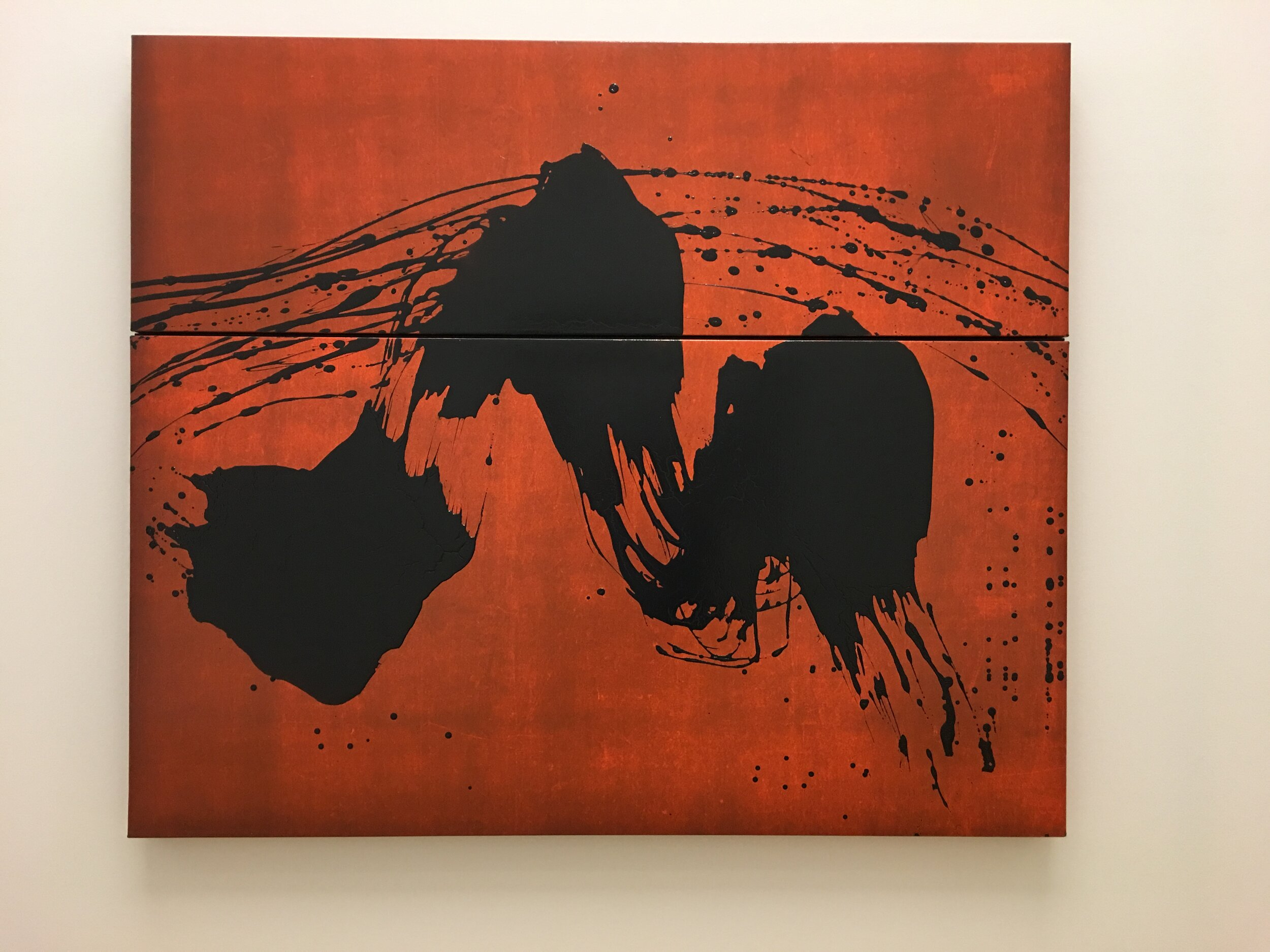 Pilgrimage to the Mountains of Pure Intention, winter 2006, stained ink on canvas, diptych, Fabienne Verdier, Centre Pompidou, Paris (photograph J. Cook)