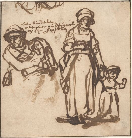 Studies of a Woman and Two Children, c. 1640, Pen and brown ink,,Rembrandt van Rijn, Dutch, 1606-1669), (Image courtesy of the Ackland Art Museum, Chapel Hill)