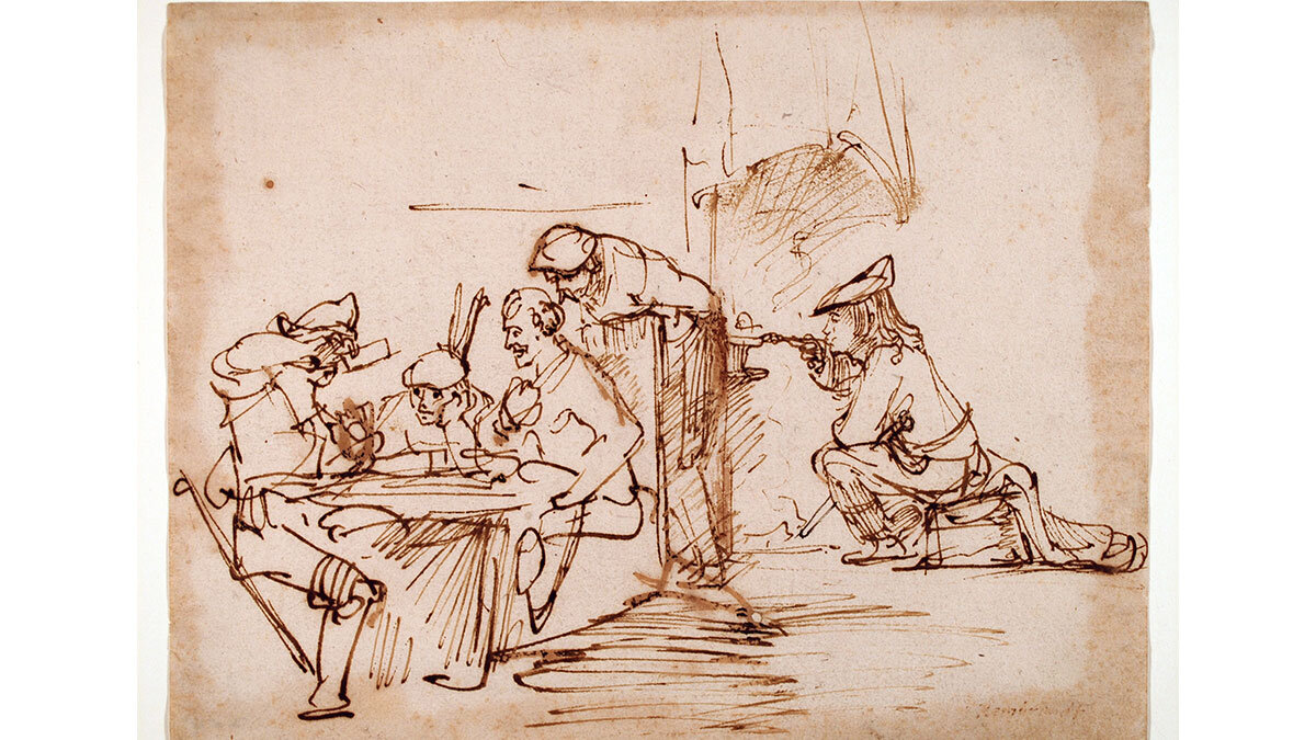 Studies of a smoker and group of card players, c. 1635-40. Pen and brown ink, Rembrandt van Rijn (Dutch, 1606-1669), (Image courtesy of the Ackland Art Museum, Chapel Hill)