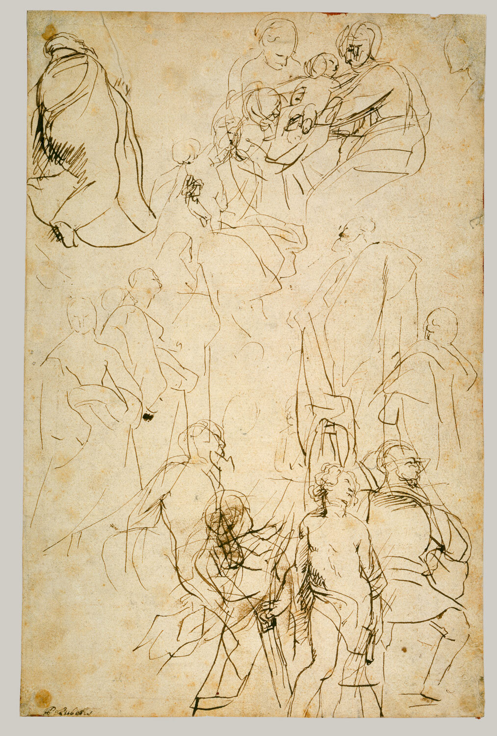 The Virgin Adored by Saints (recto), pen and brown ink, Peter Paul Rubens (1577-1640), (Image courtesy of the Metropolitan Museum of Art, New York)