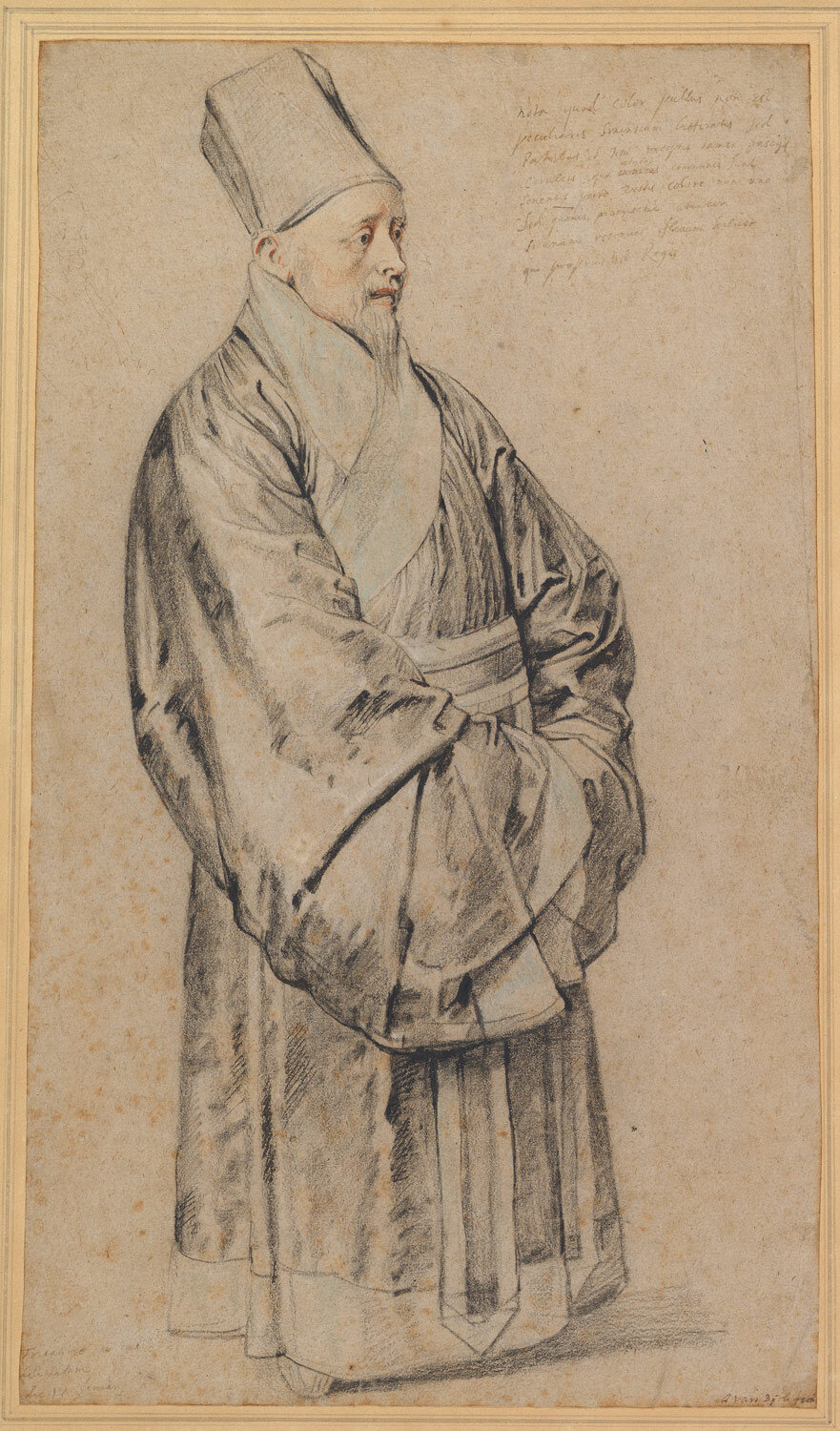 Portrait of Nicolas Trigault in Chinese Costume, 1617, black, red, and white chalk, blue pastel, and pen and brown and black ink on light brown laid paper, Peter Paul Rubens (1577-1640), (Image courtesy of the Metropolitan Museum of Art, New York)