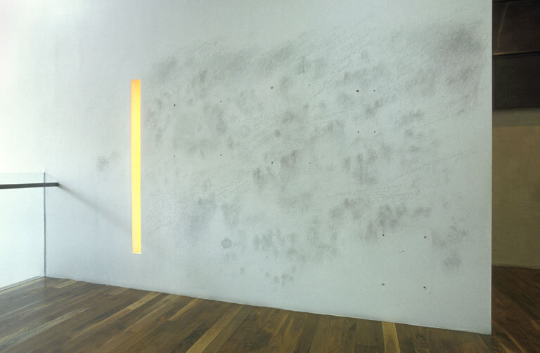Silverpoint drawing on plaster wall, 2006, Erika Winston, a drawing done in public as part a residency at Oz Studio/Oz Unicorn Theatre, London