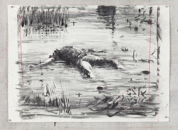 Untitled (Drawing from Wozzeck 17), William Kentridge, 2016, Charcoal and red pencil on Hahnemuhle paper, 56.5 x 78 cm, 22 1/4 x 30 11/16 inches, (Image courtesy of Goodman Gallery, Johannesburg)