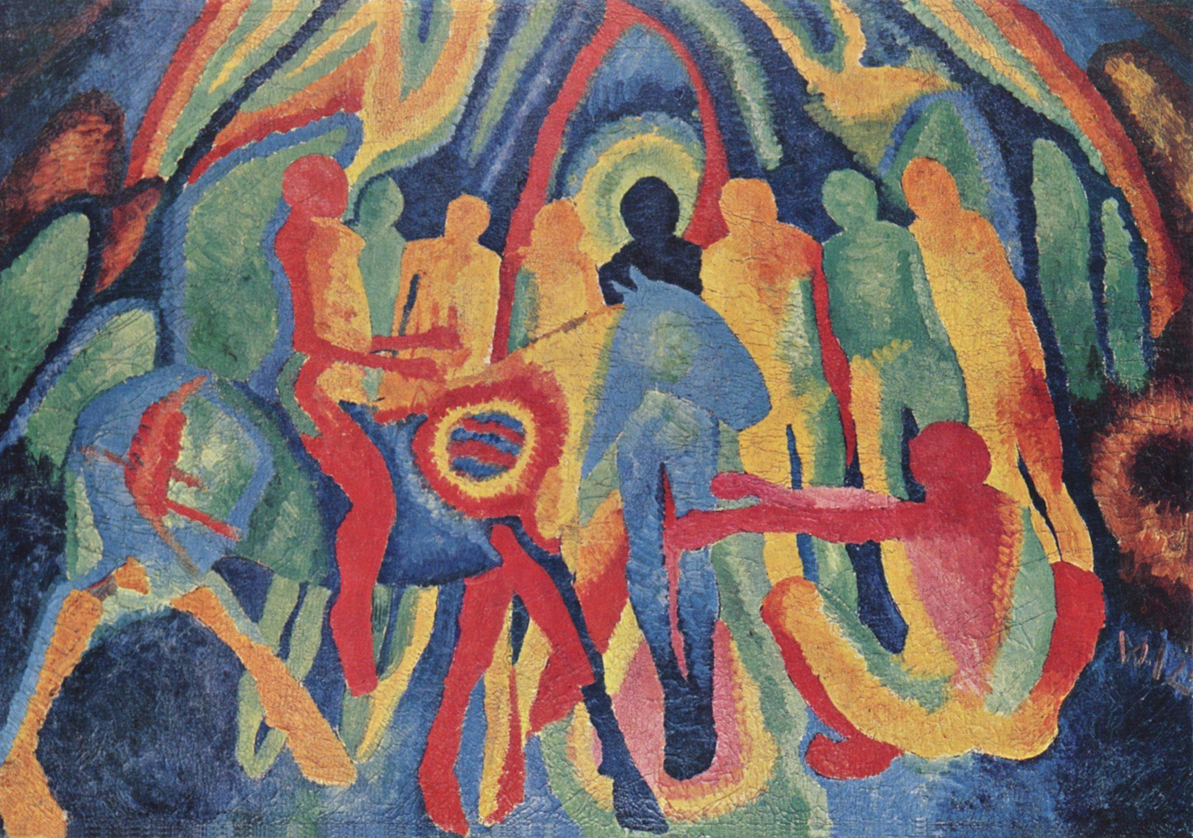 """ Entry of Christ into Jerusalem "" by Wilhelm Morgner (1891–1917), Museum am Ostwall (Dortmund, Germany) . Downloaded from the Vanderbilt Digital Library  http://diglib.library.vanderbilt.edu/act-imagelink.pl?RC=54247 ."
