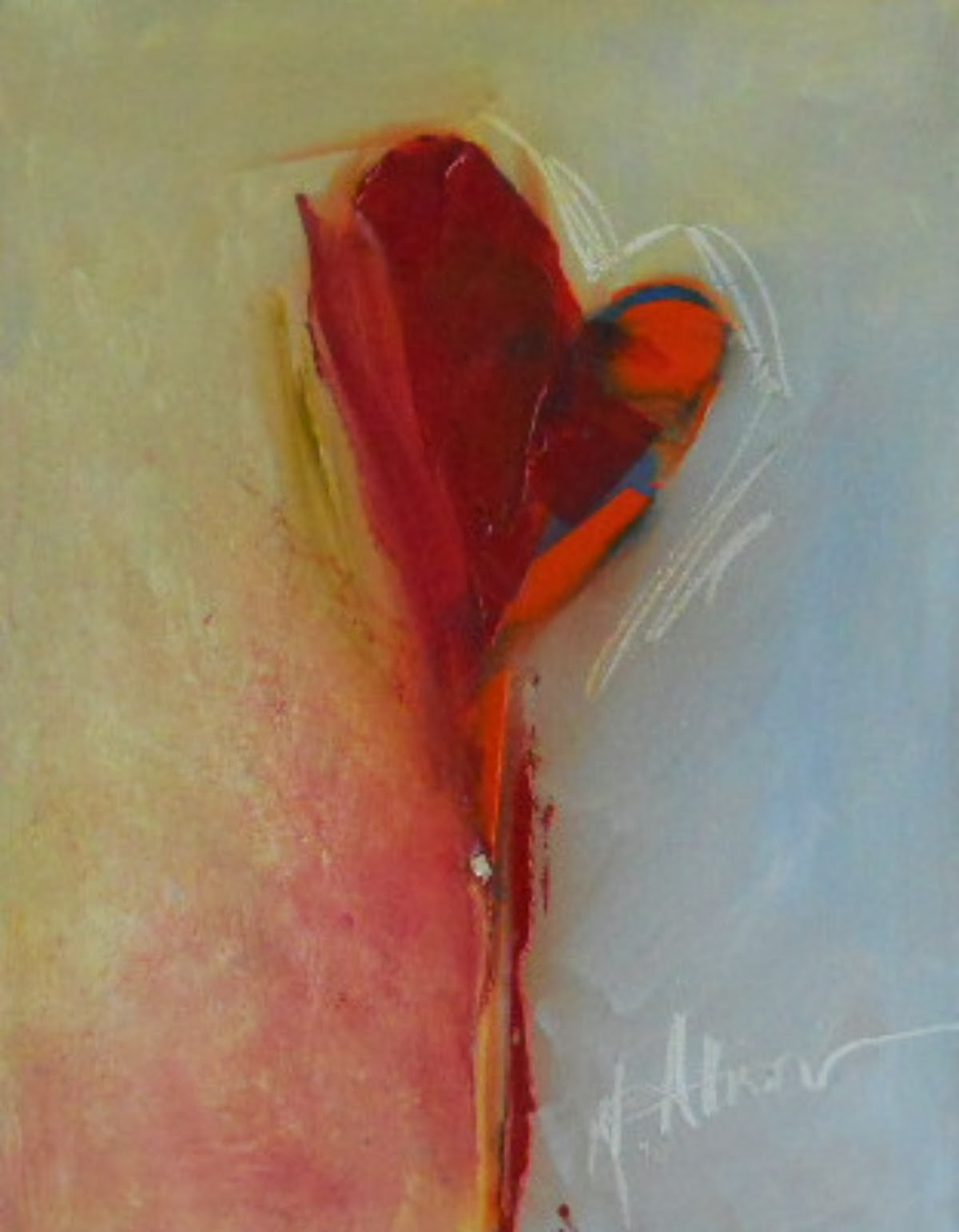 """""""My Heart,"""" by M. Allision, 2013, 11 X 14 Oil.http://mallisonfineart.blogspot.com/2013/12/contemporary-abstract-heart-painting-in.html"""