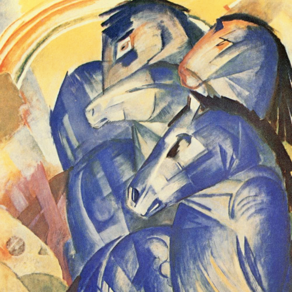 IMAGE CREDIT: The Tower of Blue Horses , by Franz Marc (1913) [ https://commons.wikimedia.org/wiki/File:Franz_Marc_029a.jpg ] This image is in the public domain.