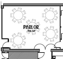 Basic Parlor Floorplan (left is front, Broad Street, entrance)