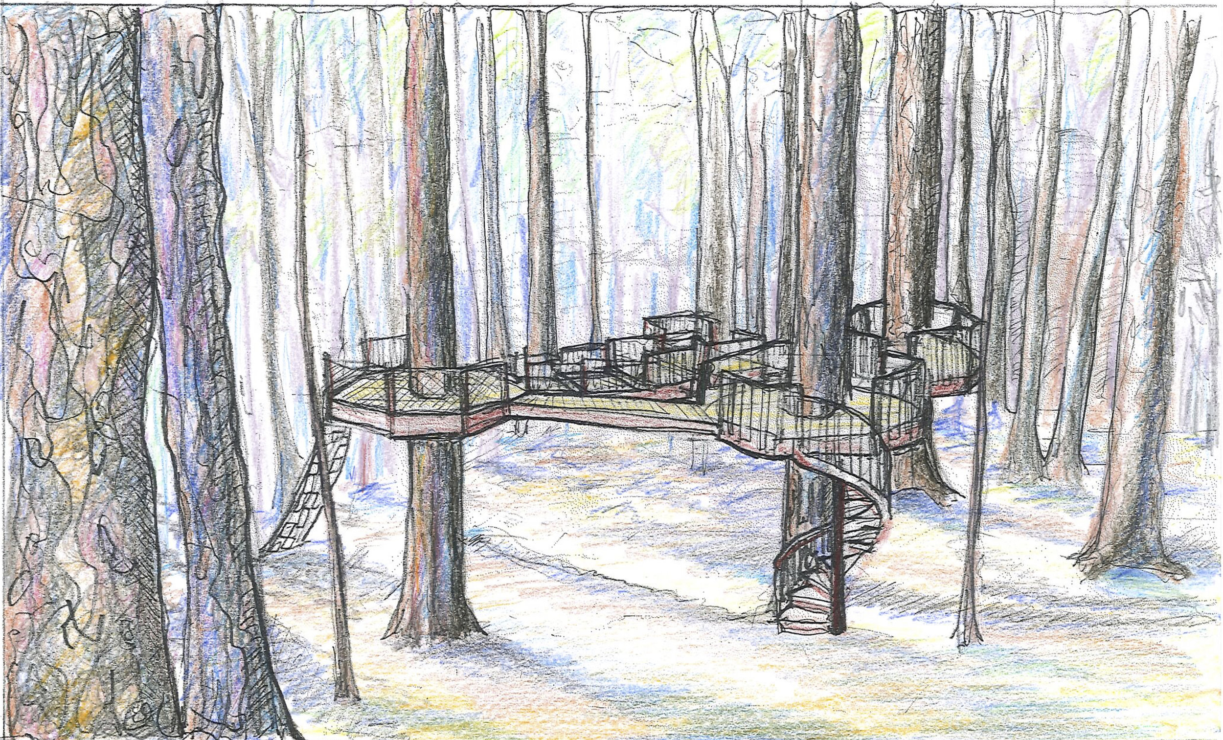 Illustration of completed Treehouse Platforms