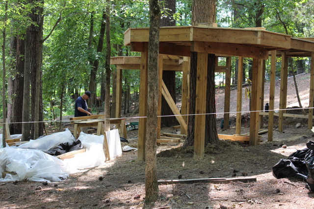 Now that our students are back, they're having a great time watching the treehouse platforms take shape!
