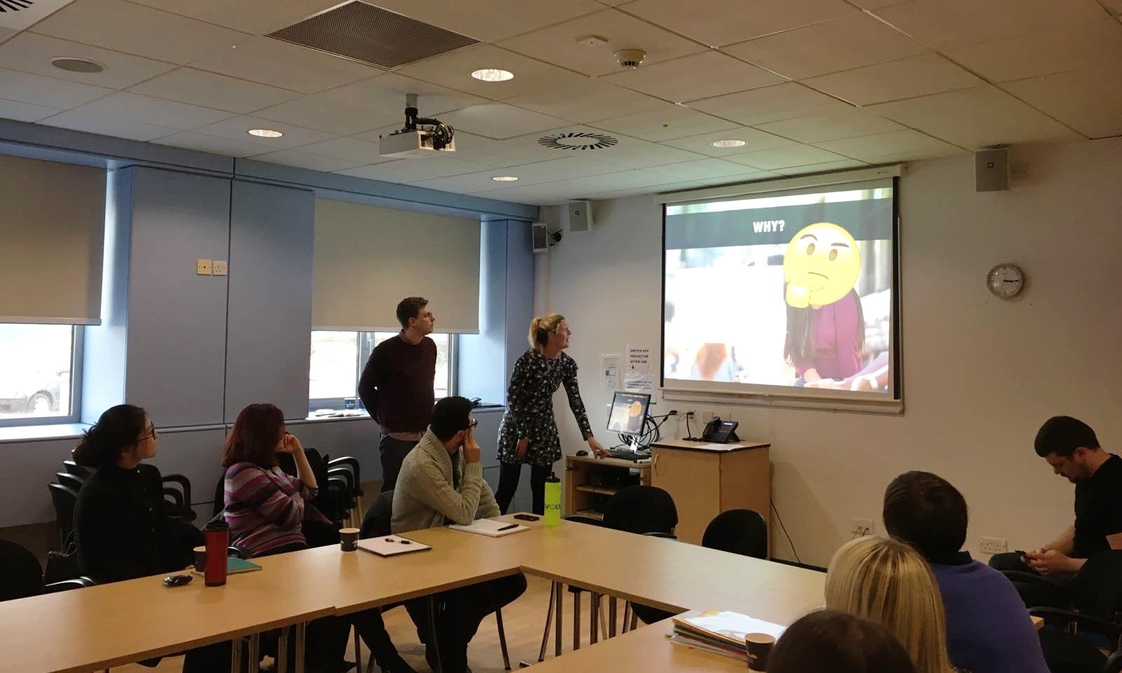 Emma & Dan delivering a SMeRT presentation