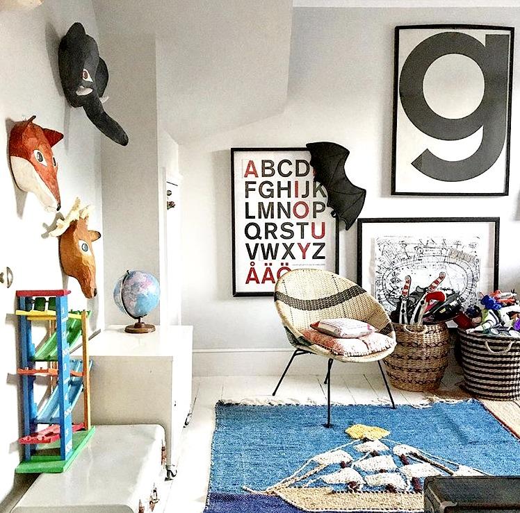 Vintage sailboat rug in Lisa's son George's room