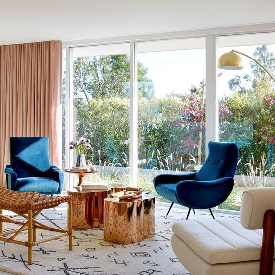 Actress Mandy Moore's living designed by Sarah Sherman Samuel - Image credit Architectural Digest