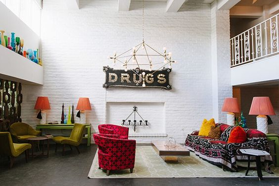 The lobby at the Jonathan Adler designed Parker Palm Springs hotel
