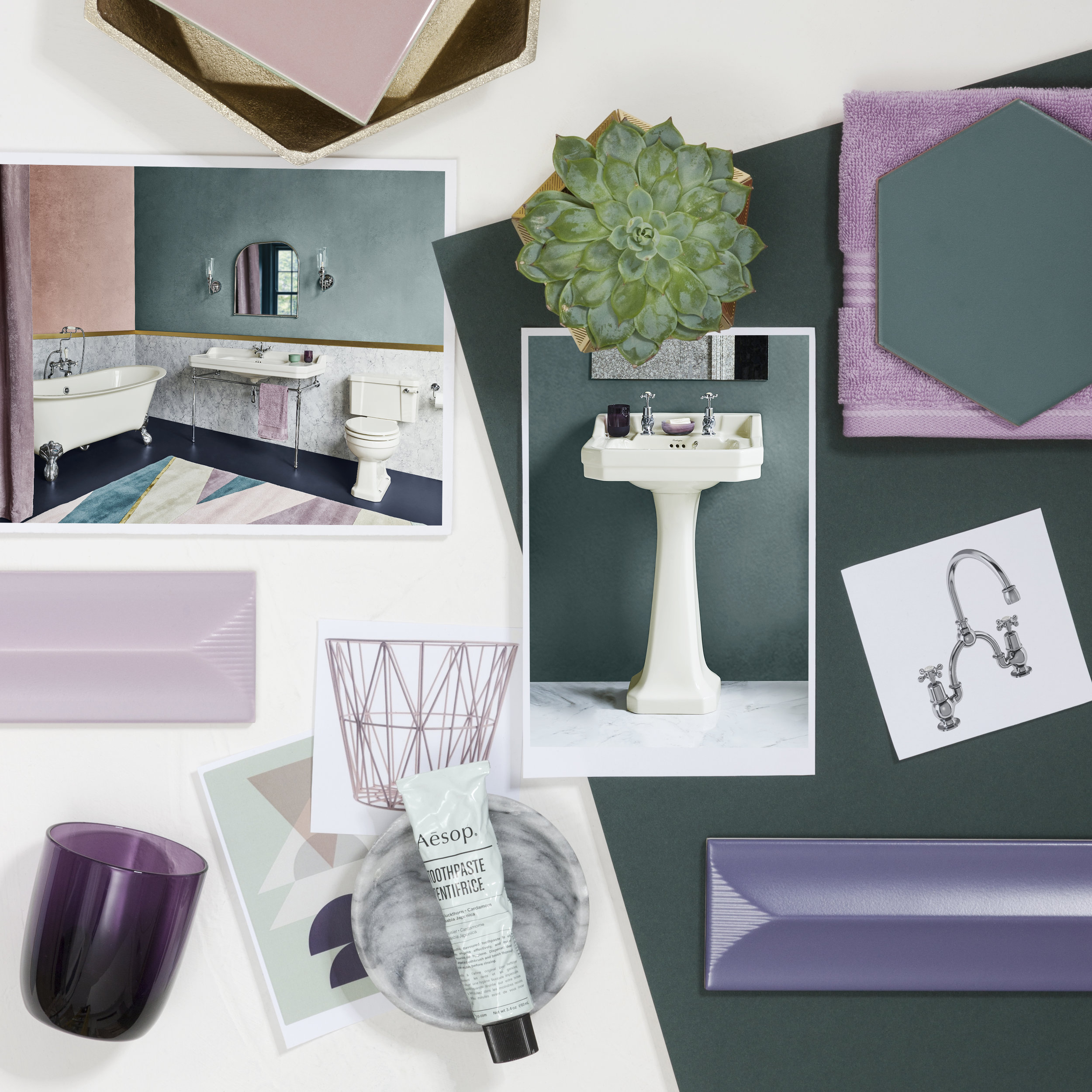Lush greens and rich purples were paired with the Medici range in this moodboard by Burlington Bathrooms