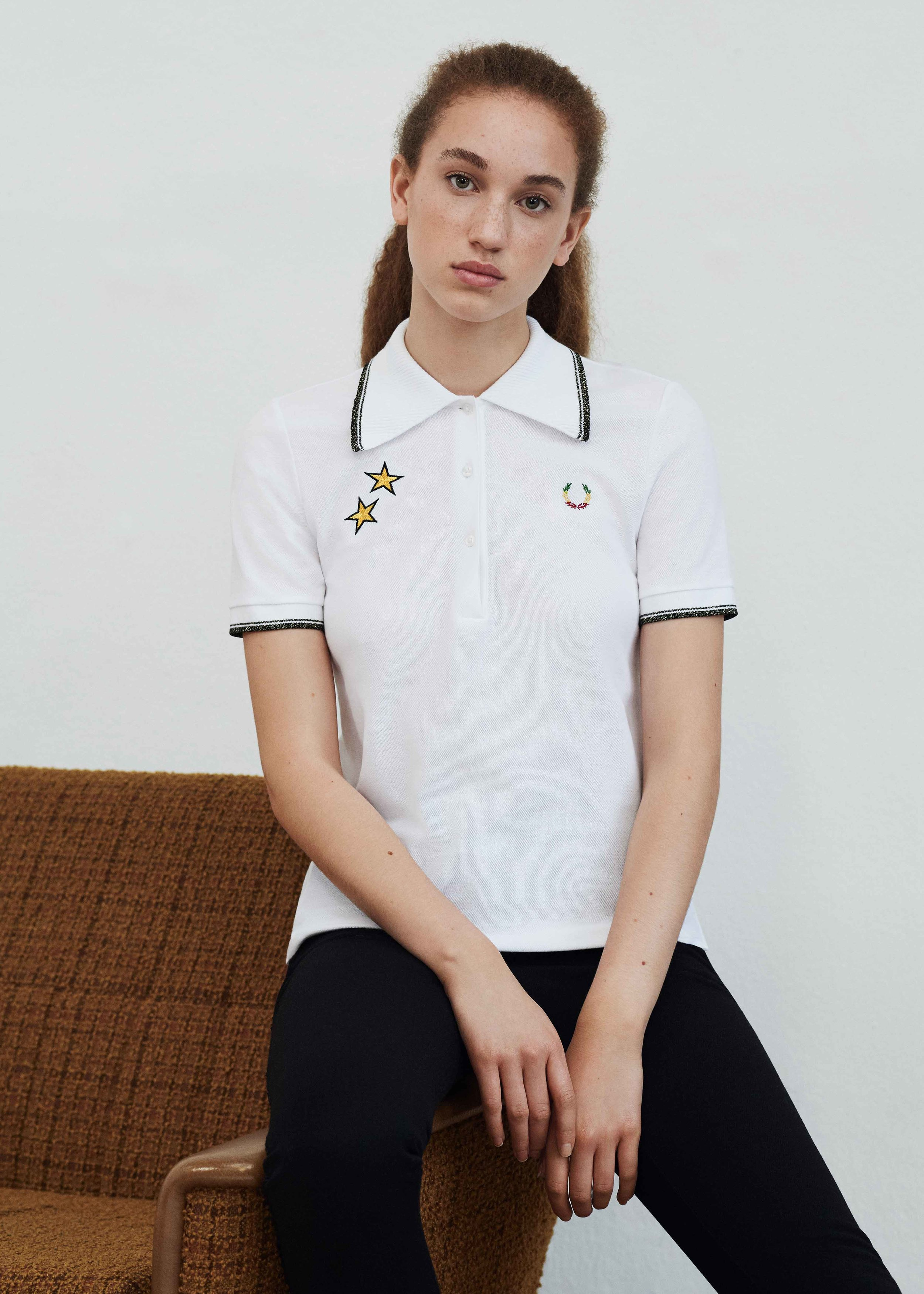 Star Embroidered Piqué Polo Shirt by FRED PERRY x BELLA FREUD for € 120,–.