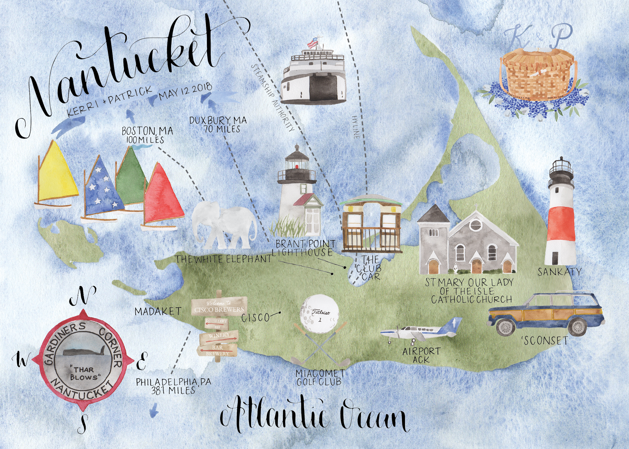 Custom Watercolor Nantucket Wedding Map