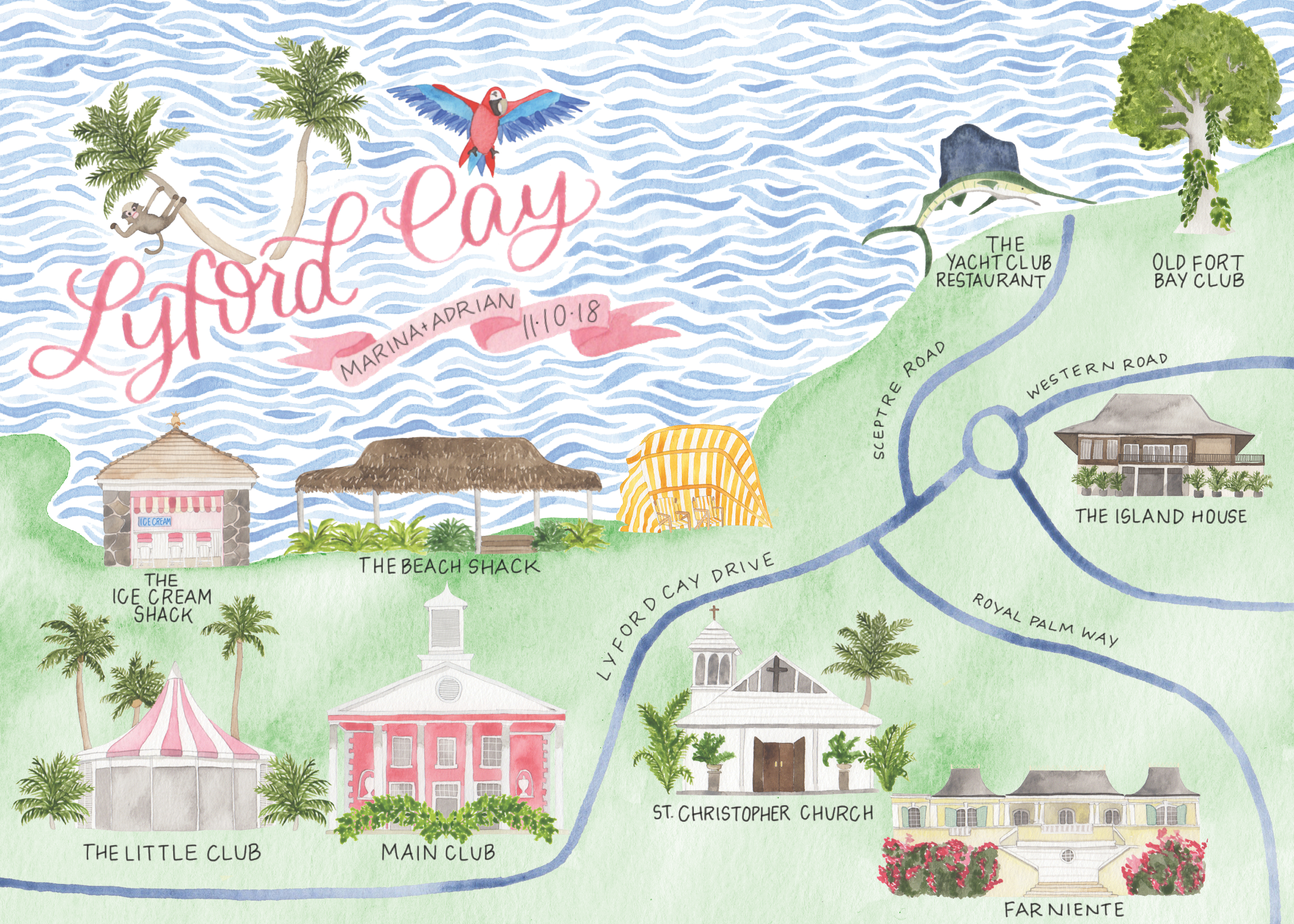 Custom Watercolor Lyford Cay Wedding Map