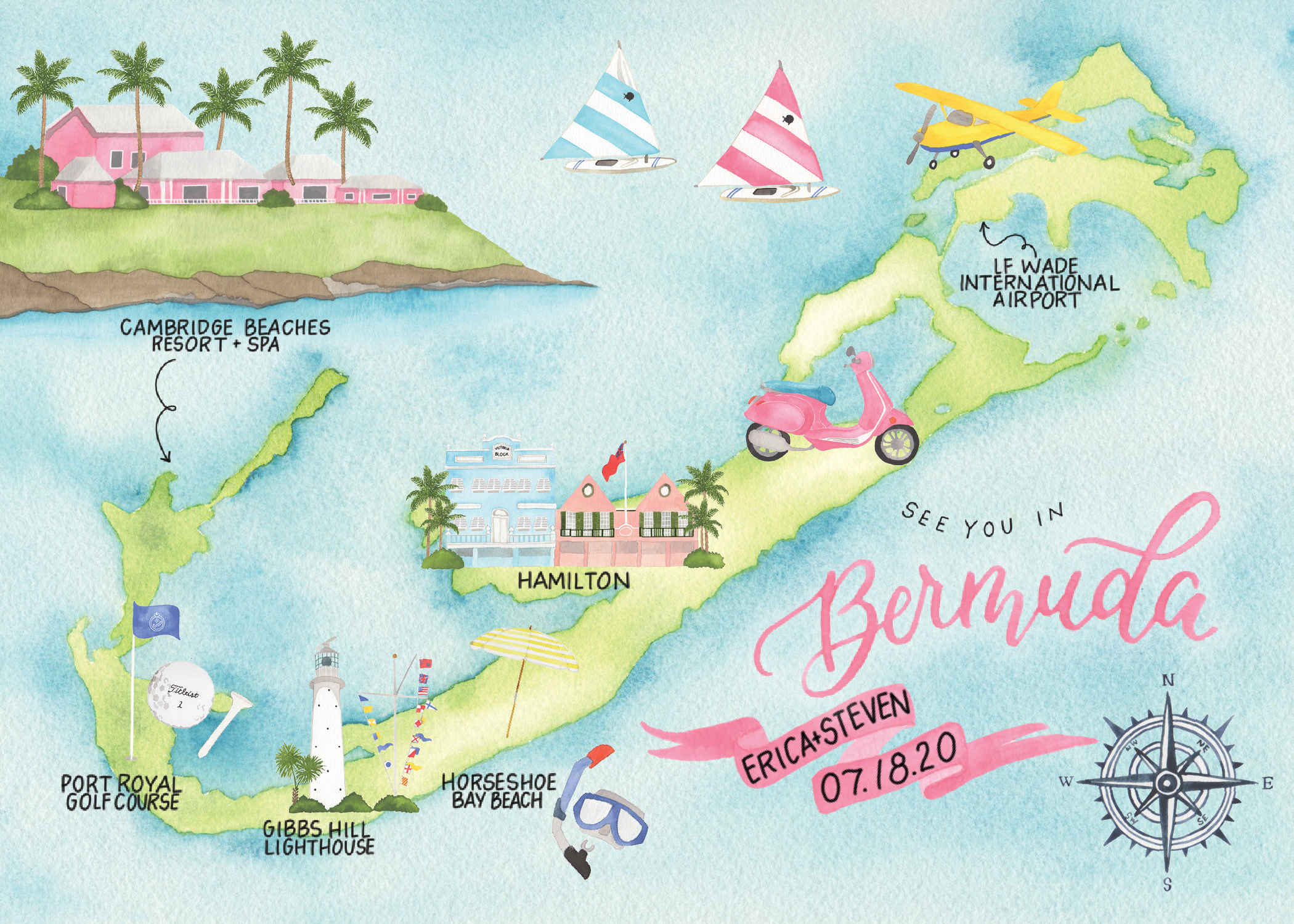 Custom Bermuda Watercolor Wedding Map