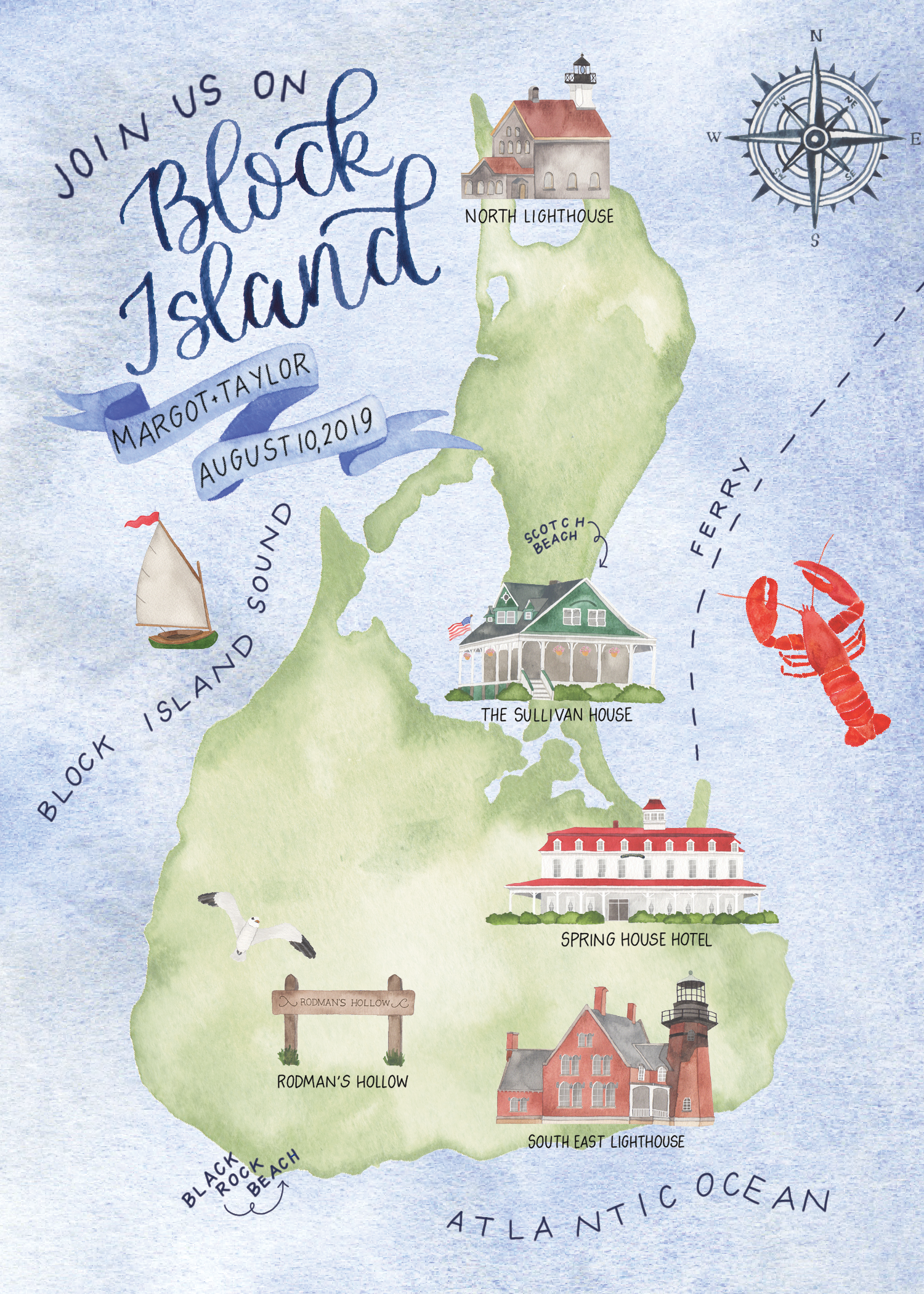 Watercolor Block Island Wedding Map
