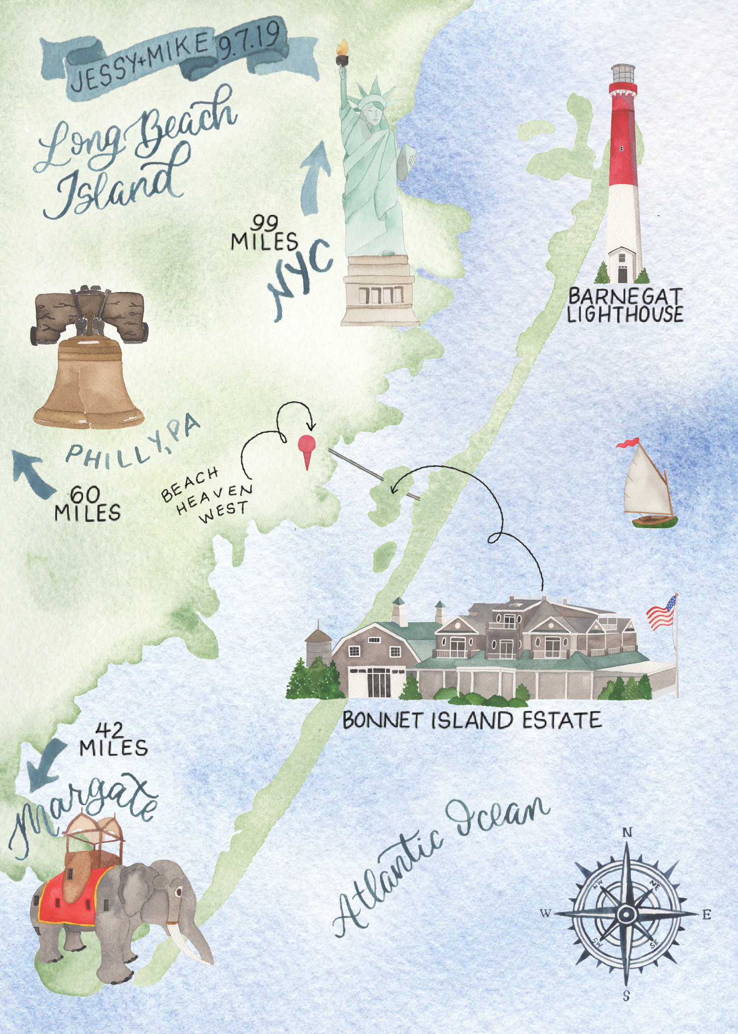 Custom Watercolor Long Beach Island Wedding Map