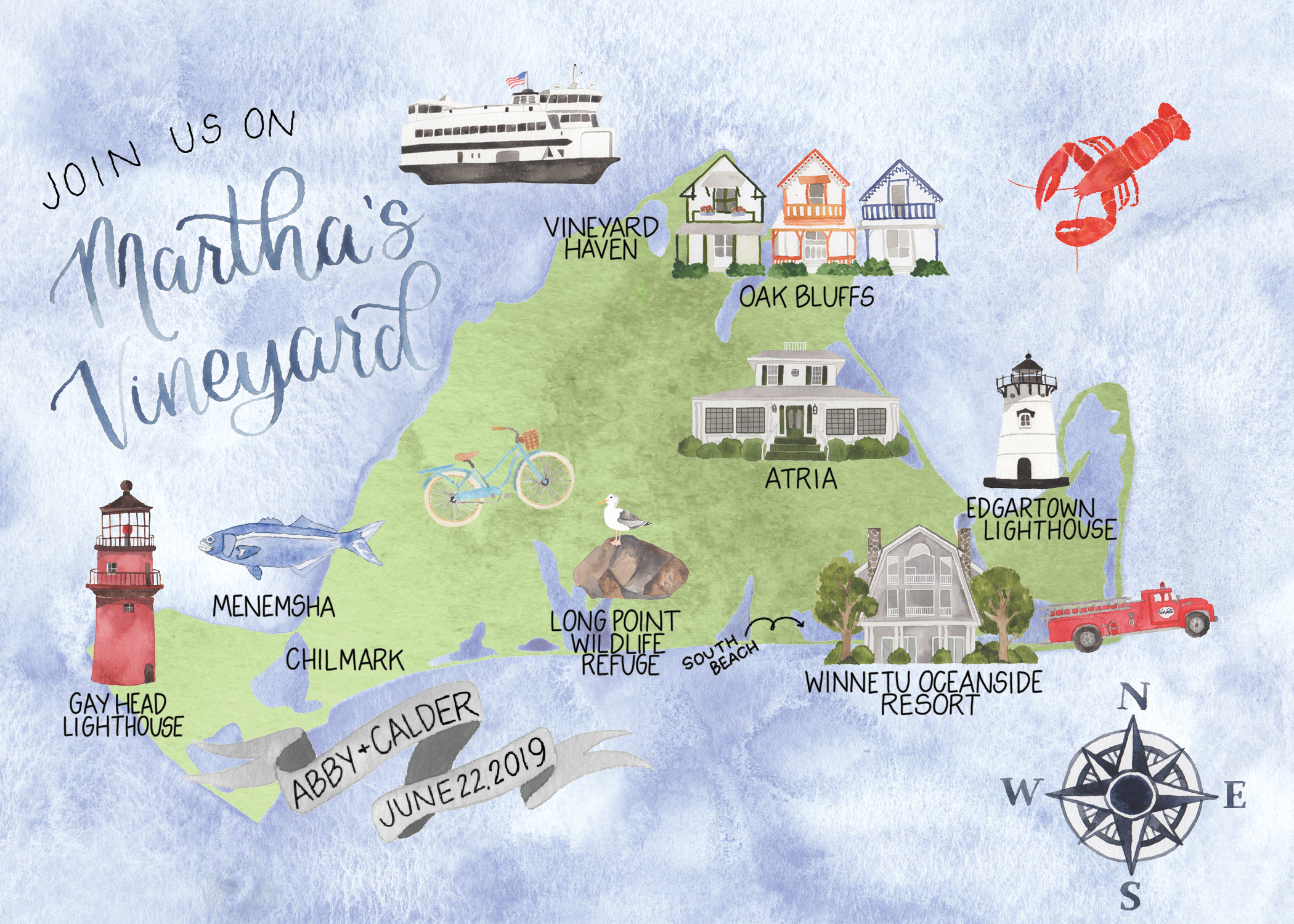 Custom Watercolor Martha's Vineyard Wedding Map