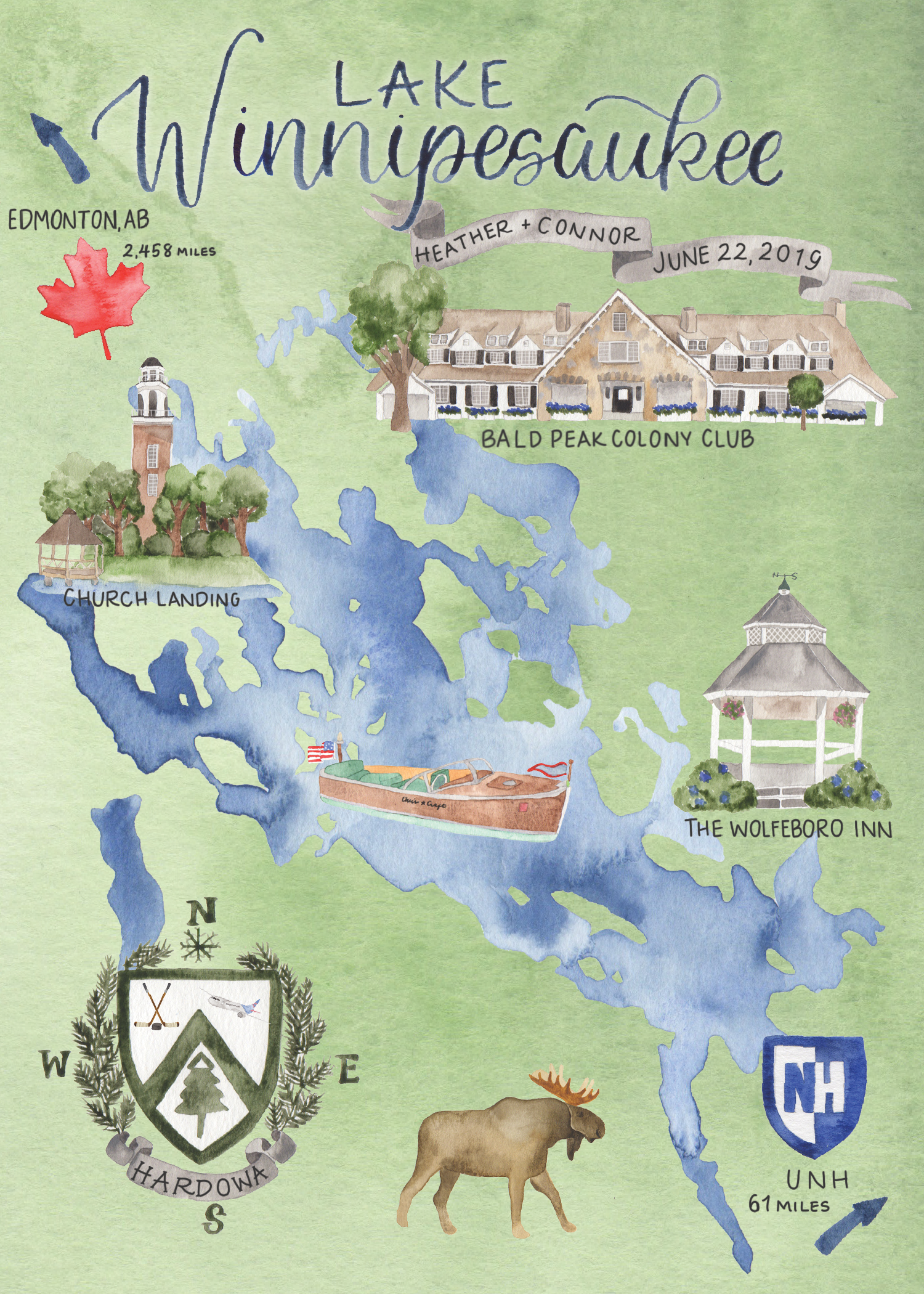 Custom Watercolor Lake Winnipesaukee Wedding Map