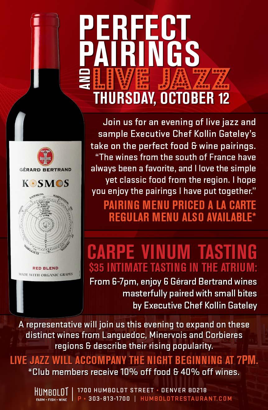 Gerard Bertrand Wine Dinner on Oct. 12