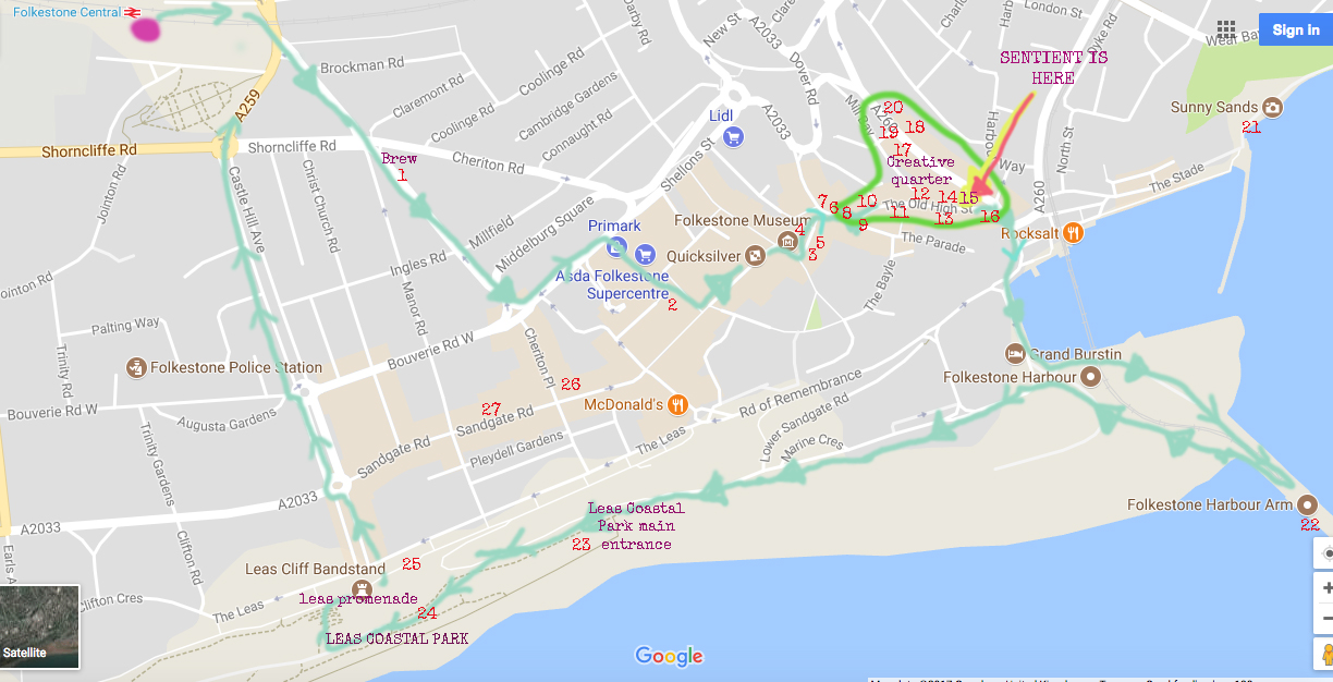 The green arrow trail shows a suggested route if you don't have much time...sorry it doesn't cover everything but it's handy for a quick visit. ***As noted, this does not cover Triennial artworks - some will be en route but not all, so do visit the  Folkestone 2017 Triennial map  for those. If i get chance I will try to integrate the two**.