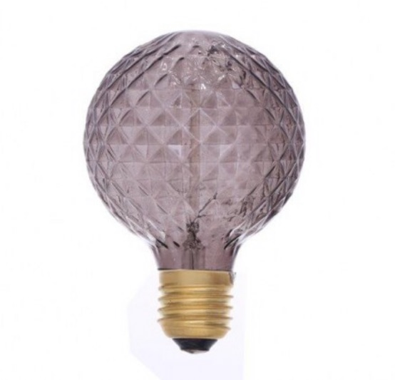 IN STORE ONLY: Grey bevel cut e27 screw bulb filament (non led) approx 9.5cm x9.5cm £6.50