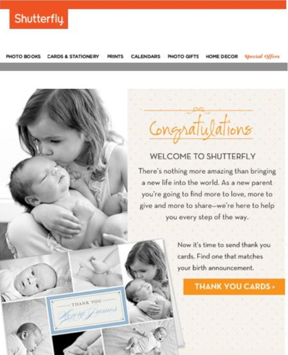 """Shutterfly's 2014 """"New Parent"""" email campaign, sent to the wrong audience   (   Source: DMNnews.com   )"""