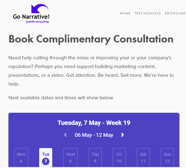 Example of free consultation offer for a service business   (  Source: Go Narrative  )