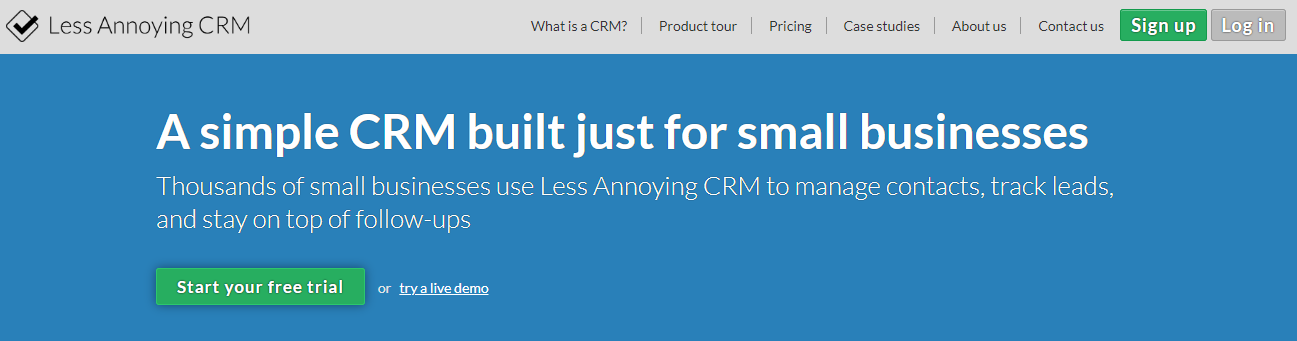 Example of a free demo/trial for a software company   (  Source: Less Annoying CRM  )