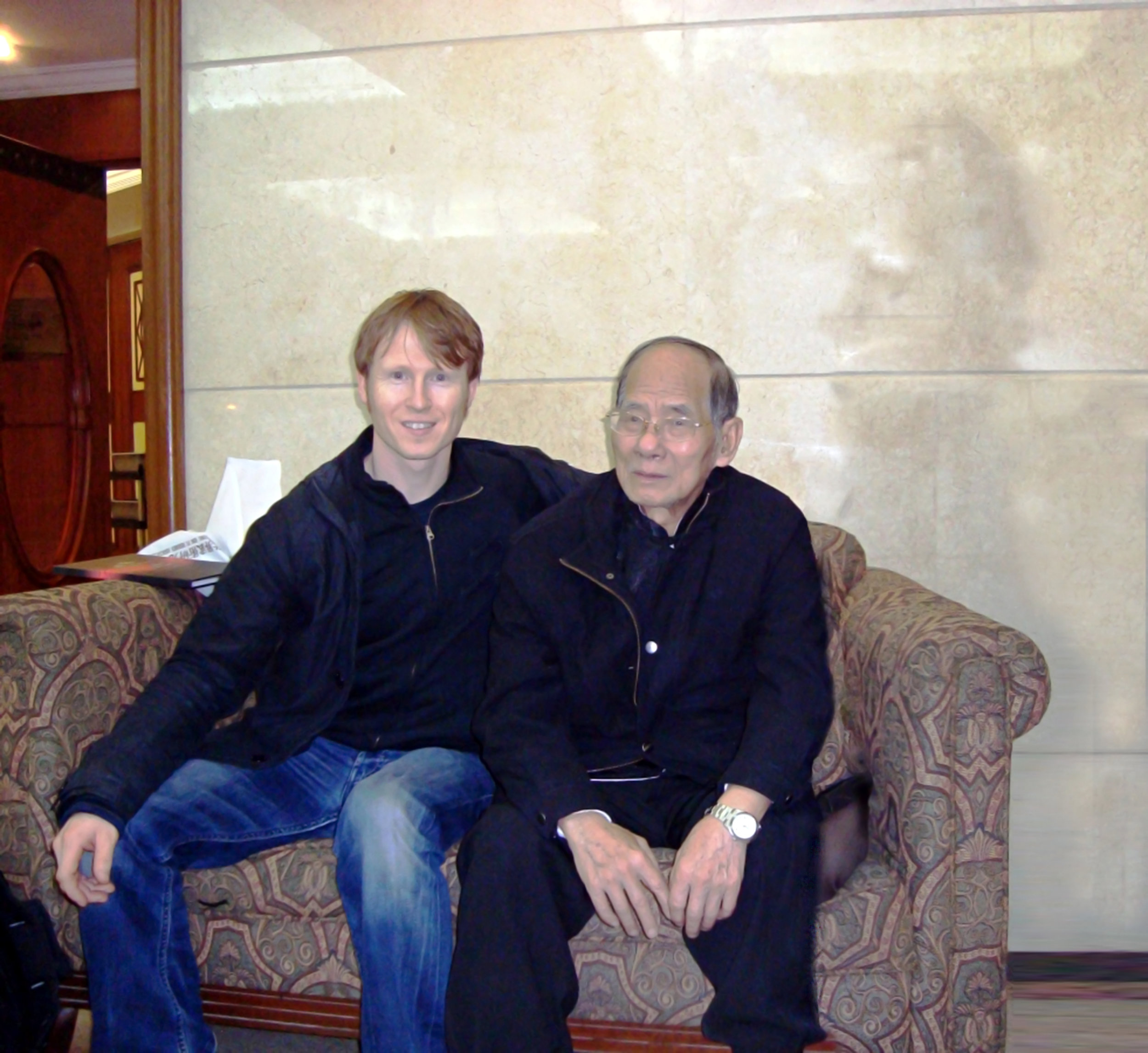 Niel with Great Grandmaster Wong Gong the Keep of the Jiangmen lineage of Lohan.