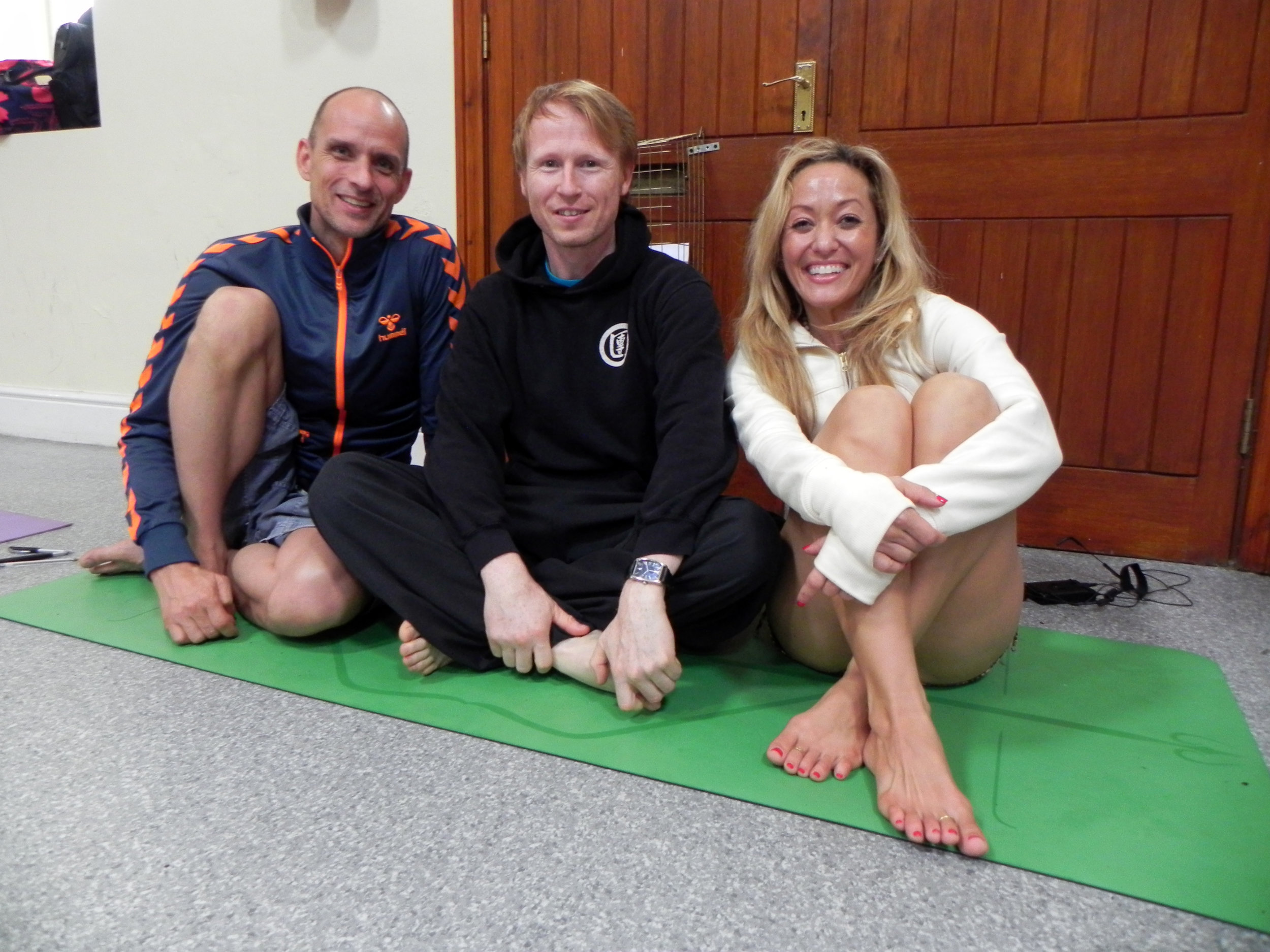 Niel with famous Youtube Yoga teacher Kino MacGregor and Tim Feldmann. Working on Ashtanga Yoga.
