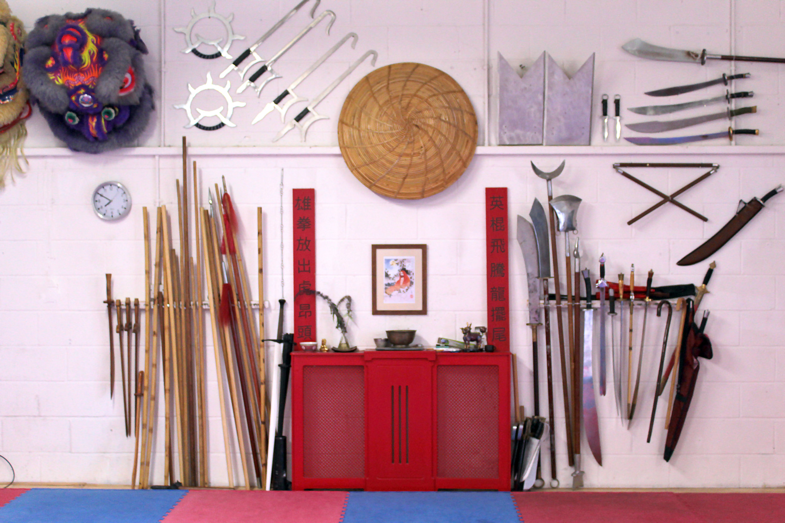 Some of our weapons in the Norwich Kung Fu studio.