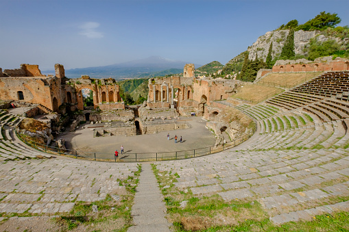 Ancient Theatre of Taormina, an ancient Greek theatre built in the 3rd century BC  (Sicily, Italy)
