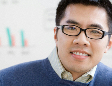 Young Asian man recruited for tech startup.